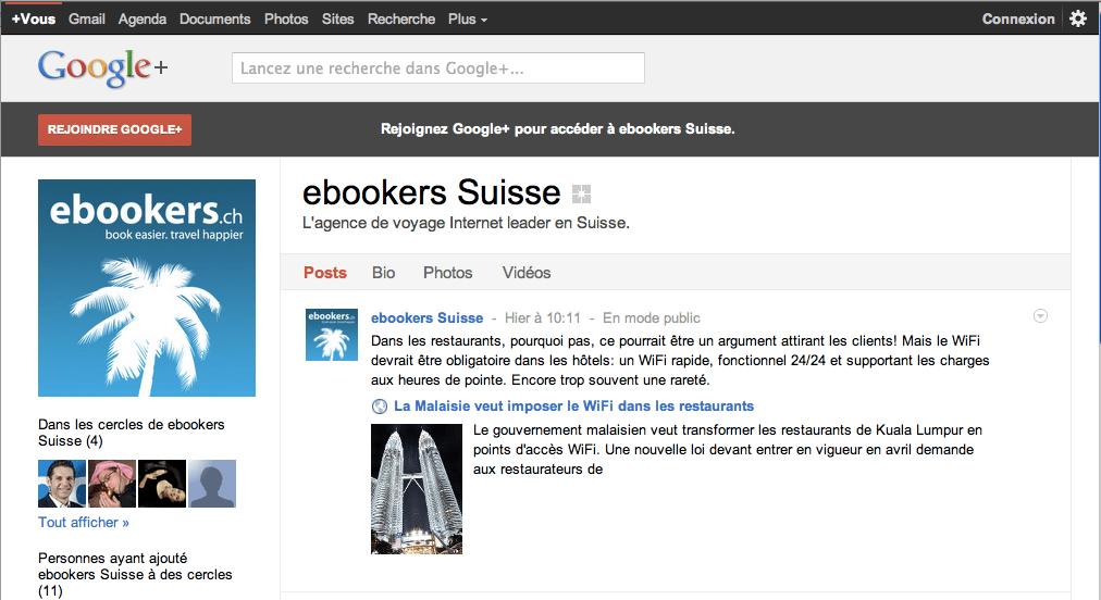 ebookers.ch sur Google+
