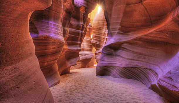 Glowing walls of the Antelope Slot Canyon, Page, Arizona