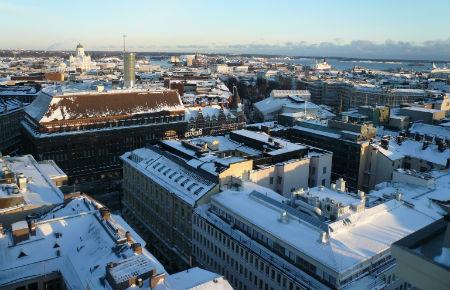 Blick von der Ateljee-Bar über Helsinki