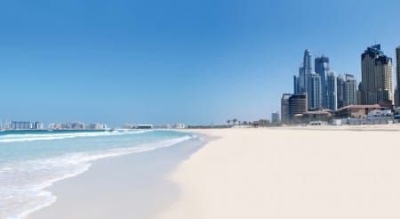 Jumeirah Beach and cityscape