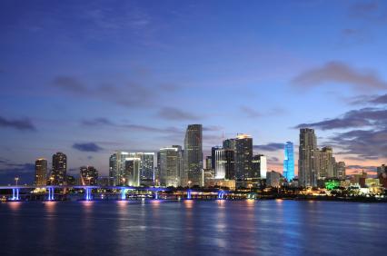 Downtown Miami at dusk, Florida USA