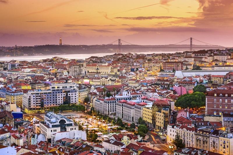 Lisbon, Portugal skyline at night.