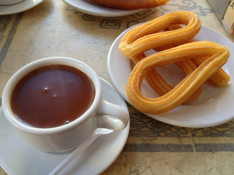 Spanish snack of Churros and warm chocolate.