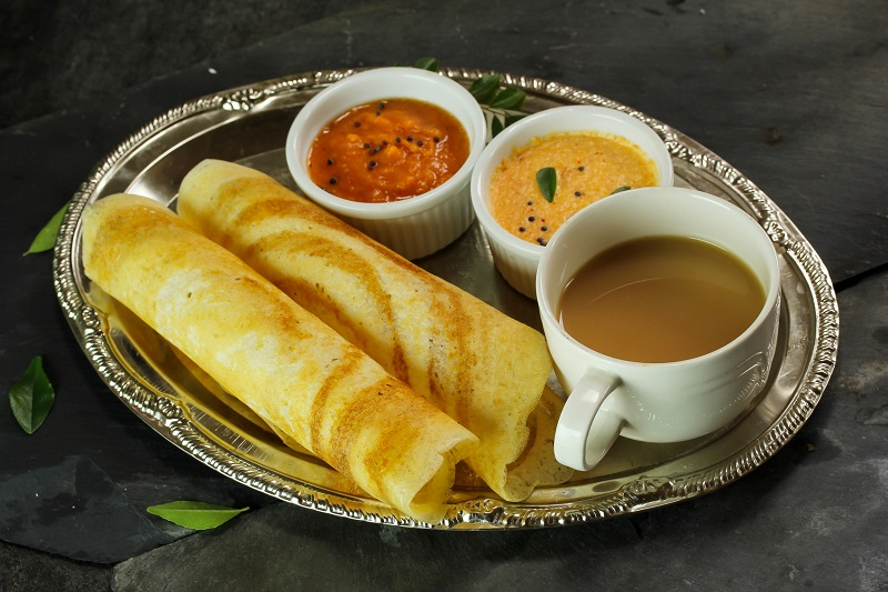 Dosa with chutney south Indian Breakfast