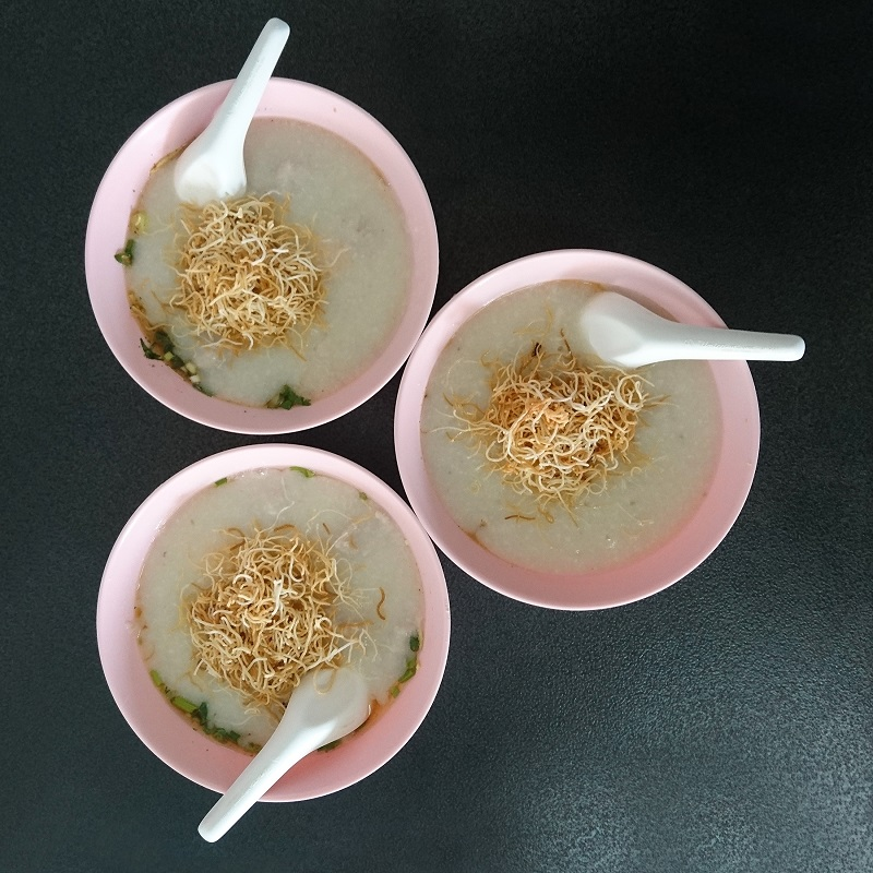 Thai rice congee with pork. This is a very typical breakfast in Thailand.