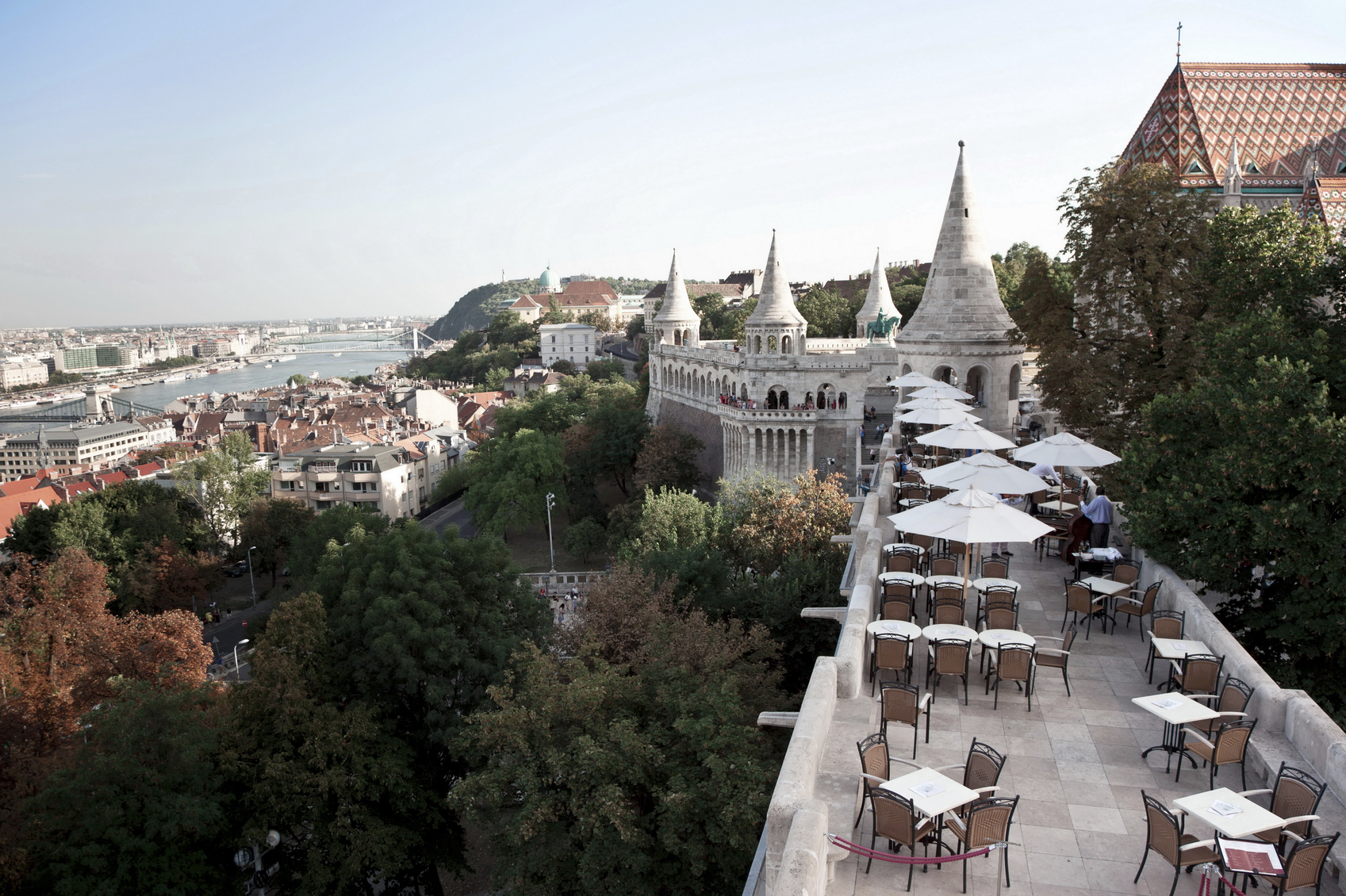 a scene of Budapest from a cafes on Flashermen's bastion at Buda's side