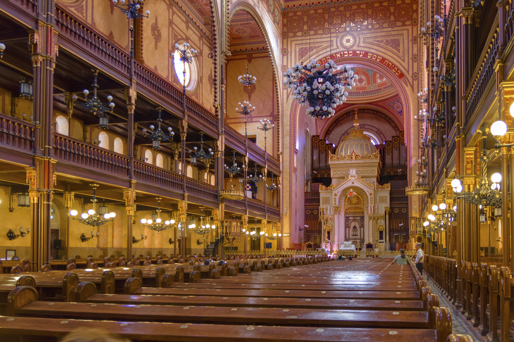 Budapest, Hungary - September 17, 2015: Interior of the Great Synagogue in Dohany Street. The Dohany Street synagogue is the largest synagogue in Europe.